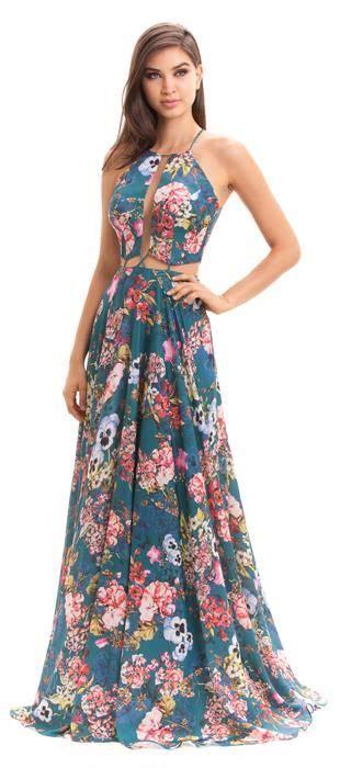 vestido longo de cetim estado em tema floral decote profundo e recortes estrat 233 gicos na