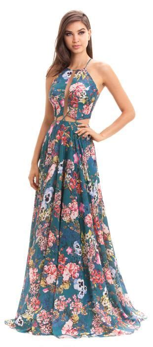 vestido longo de cetim estado em tema floral