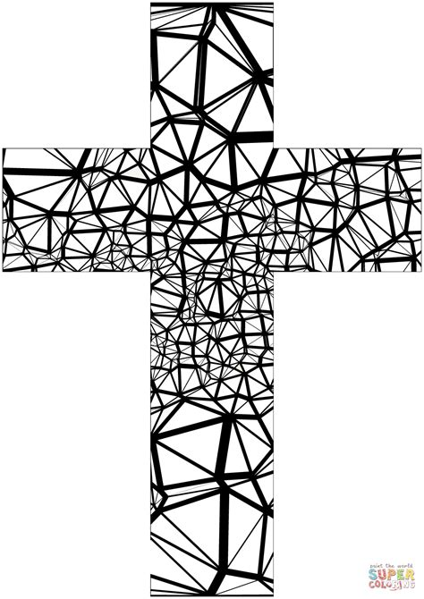 Stained Glass Abstract Cross Coloring Page Free