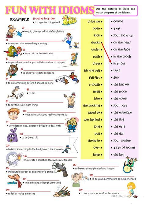fun  idioms english esl worksheets  distance