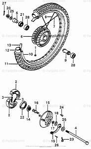 Honda Motorcycle 1976 Oem Parts Diagram For Front Wheel