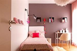 une chambre de fille rose poudre et taupe With marvelous photo peinture salon 2 couleurs 1 decorer les murs de ma cuisine grise et rouge