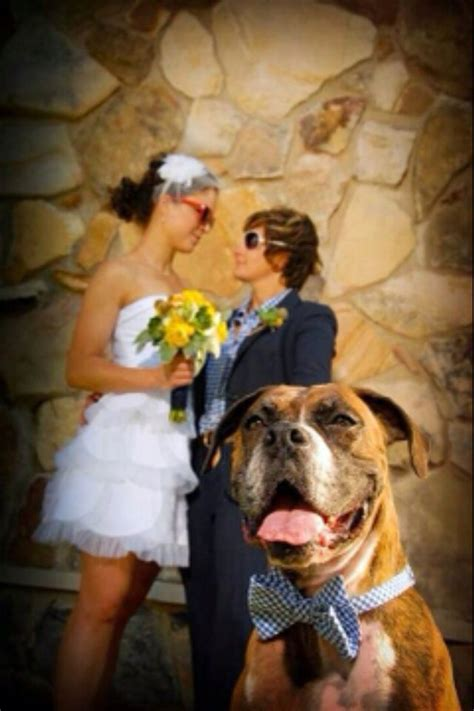 Lesbian Wedding Photo With Dog Photo Ideas Wedding