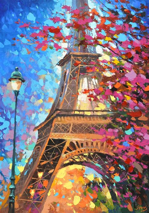 paris oil painting paris eiffel tower paris autumn