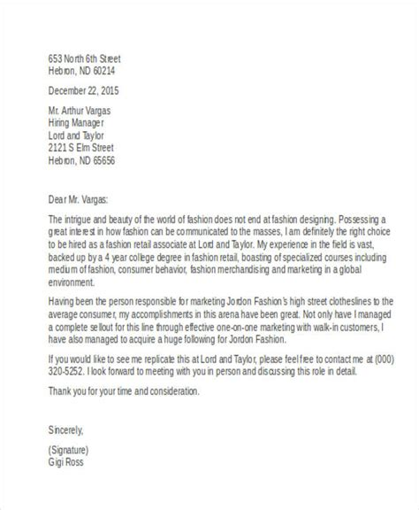 Exles Of Cover Letters For Retail by 7 Retail Cover Letter Templates Free Sle Exle