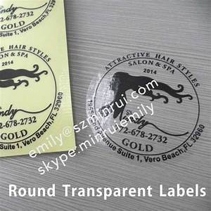 cutom round dia 50mm clear stickers with white printing With clear round labels for printing
