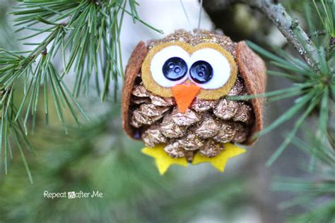 owl creations from pine cones and fluff pinecone owl ornament repeat crafter me