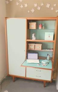 Bureau Secretaire Vintage : meuble bureau secretaire petit bureau avec rangement ~ Teatrodelosmanantiales.com Idées de Décoration