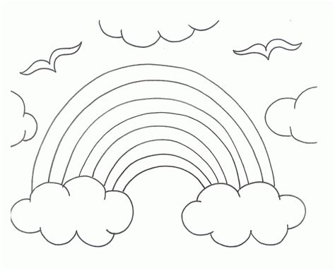 Black And White Rainbow Coloring Page Coloring Home