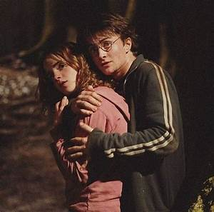 I love how Harry protects Hermione in this scene he's ...