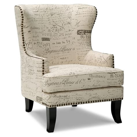 black and white accent chair with letter print
