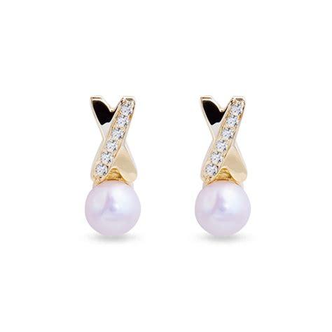 Klenota  Ohrringe Mit Perlen Und Diamanten, Gold Perlen