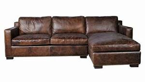 Rustic sectional corner leather sofa with right arm chaise for Large rustic sectional sofa