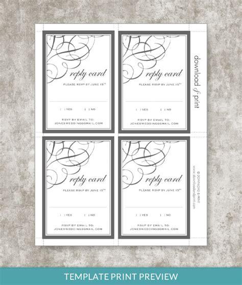rose scroll rsvp card template  print