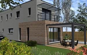 maison moderne bardage bois et toit terrasse maisons With maison avec bardage bois