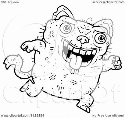 Ugly Cat Cartoon Coloring Running Clipart Outlined