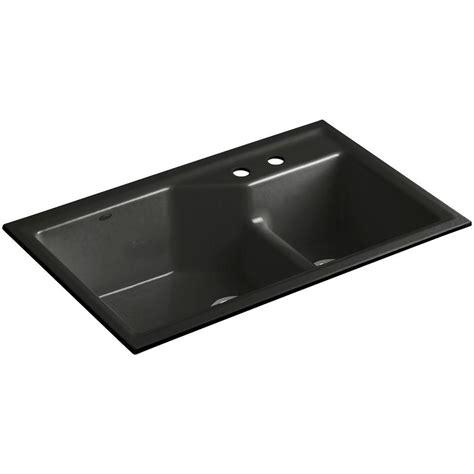 cast iron undermount kitchen sink kohler indio smart divide undermount cast iron 33 in 2 8067