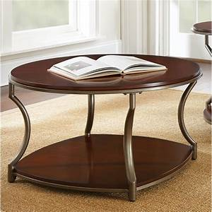 steve silver maryland round coffee table in medium cherry With round cherry wood coffee table
