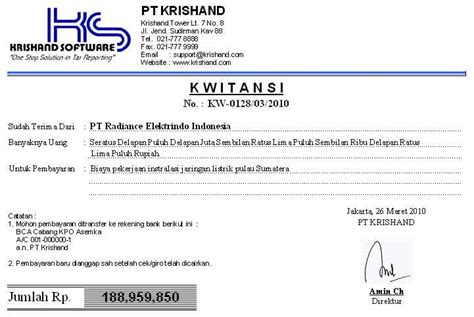 Contoh Kuitansi by Software Program Krishand Kwitansi Cetak Bukti