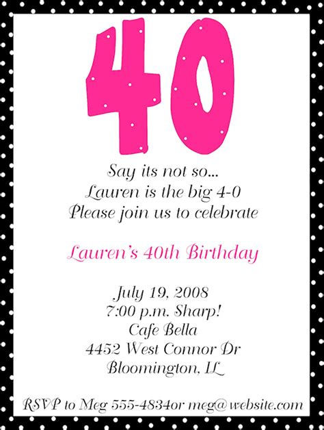 40th Birthday Party Invitation Wording FREE Printable