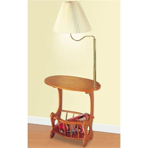 end table with attached l and magazine rack coaster magazine table with brass swing arm l in oak 4501