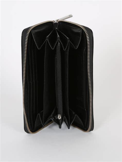 armani jeans logo pvc crystal zip  wallet black