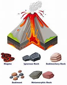Diagram Showing Eruption Of Volcano Vector
