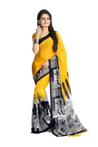 Chiffon Printed Saree Yellow - Designer Casual Sarees ...