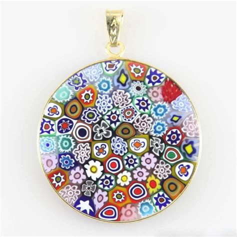 Mille Fiori by Large Millefiori Pendant Quot Multicolor Quot In Gold Plated Frame