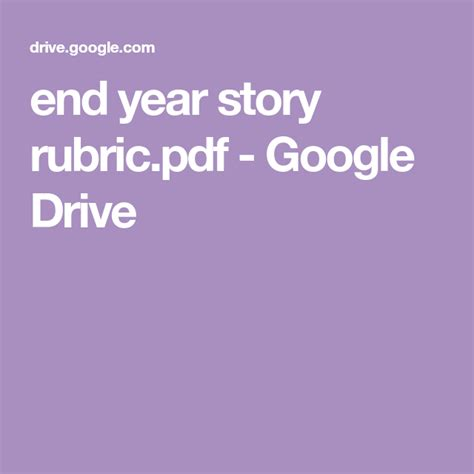 year story rubricpdf google drive rubrics story
