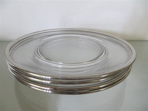 clear glass plates mikasa crystal platinum rim clear glass luncheon salad plate plates set of 4
