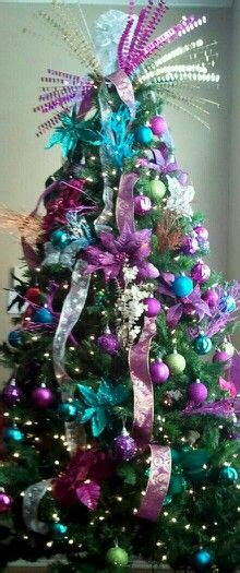 my peacock christmas tree teal blue lime green purple