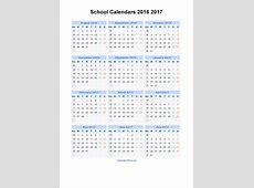 School Calendars 2016 2017 Calendar from August 2016 to