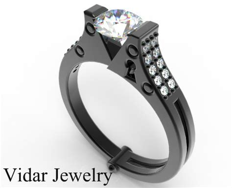 Black Gold White Diamond Handcuff Engagement Ring  Vidar