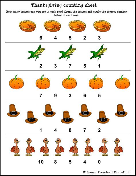 thanksgiving worksheets for preschoolers thanksgiving song and counting worksheet from kiboomu