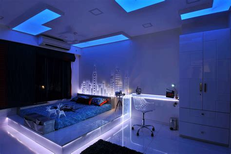 neon lights bedroom 30 buoyant blue bedrooms that add tranquility and calm to 12687 | neon lights LEDs under bed blue bedroom ideas