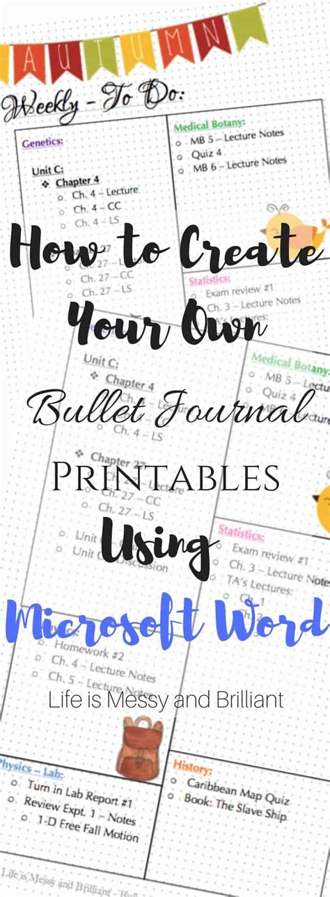 How To Create Bullet Journal Printables Using Microsoft Word