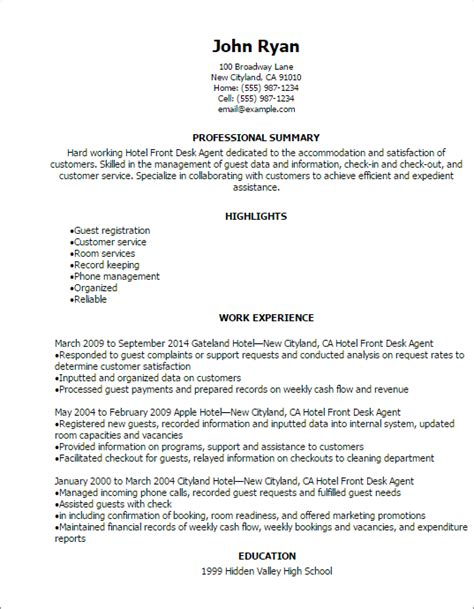 Front Desk Resume Template by Professional Hotel Front Desk Resume Templates To