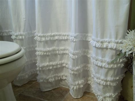 shabby chic shower curtain shabby chic cottage washed white cotton ruffles