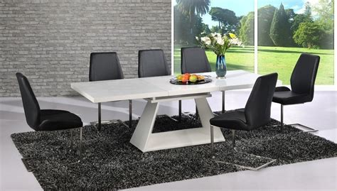 modern black dining table and chairs modern white high gloss extending dining table and 8 black