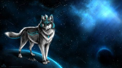 Digital Wolf Wallpaper by Wolf Animals Artwork Space Planet