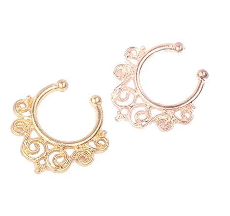 12mm Gold Vintage Flourish Fake Septum Nose Ring Jewelry