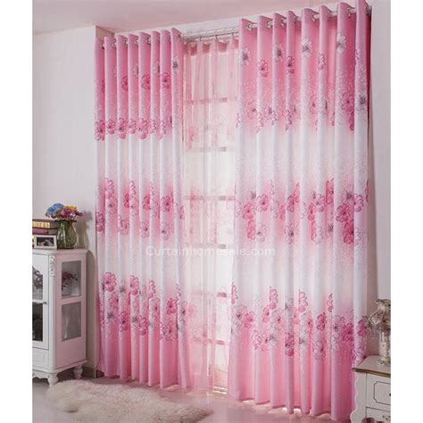 decorative pink and white curtains floral pattern