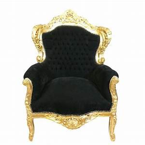 Canapé Baroque Pas Cher : fauteuil baroque noir et dor chaise baroque ~ Teatrodelosmanantiales.com Idées de Décoration