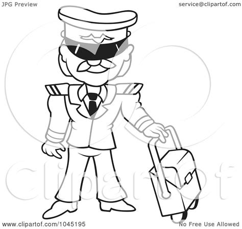 11742 pilot clipart black and white royalty free rf clip illustration of a black and