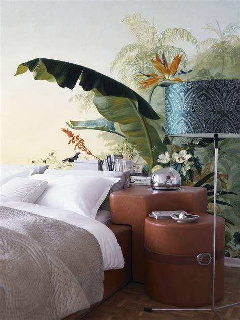 couleur de mur pour une chambre décoration chambre naturelle ou tropicale tête de lit