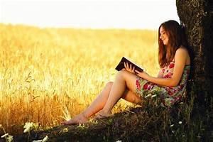 the field wheat ears tree girl book reading HD wallpaper