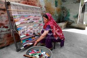 Indian Women Weaving Textile (durry) Stock Photos