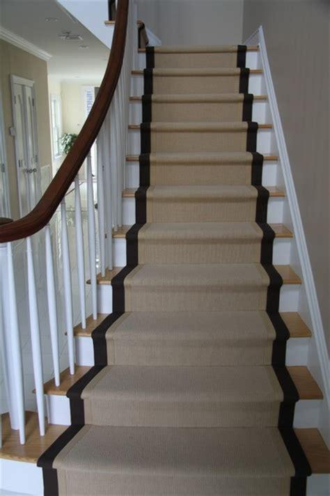 stair runners wide binding sisal runners traditional staircase new york by custom stair runners