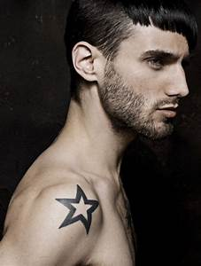 Black shoulder star tattoo for men
